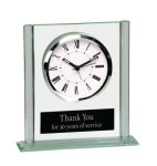 Square Glass Desk Clock Employee Awards